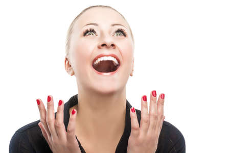 arcane: Surprised Happy Young Caucasian Woman Looking Sideways in Excitement. Isolated Over white Background.Horizontal Image Composition