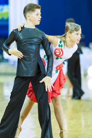 Minsk-Belarus, October 5,2014: Unidentified Professional dance couple performing Youth-2 Latin-American program on World Open Minsk-2014 WDSF Championship in October 5, 2014 in Minsk, Republic Of Belarus