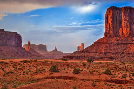 renowned: Renowned Buttes of Monument Valley in Utah State, United States Of America.Horizontal Image Composition. HDR Toning Applied