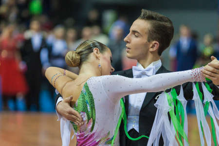 10 15 years: Minsk, Belarus-February 15, 2015: Unidentified Professional Dance Couple Performs Youth-2 Standard Program on IDSA World Professional 10 Dance Championship on February 15, 2015, in Minsk,Republic of Belarus