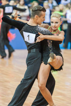 10 15 years: Minsk, Belarus-February 15,2015: Kosyakov Egor and Belmach Anastasiya from Belarus Performs Adult Latin-American program on IDSA World Professional 10 Dance Championship on February 15, 2015, in Minsk, Republic of Belarus Editorial