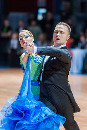 10 15 years: Minsk, Belarus-February 15, 2015: Divtsov Dmitrii and Gribkova Mariya from Turkey Performs Adult Standard European Program on IDSA World Professional 10 Dance Championship on February 15, 2015, in Minsk, Republic of Belarus Editorial