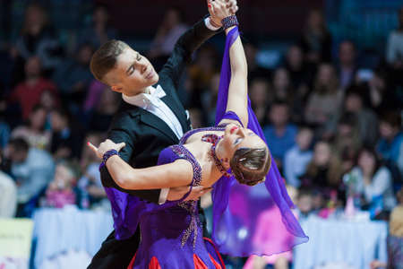 10 15 years: Minsk, Belarus-February 15, 2015: Dance Couple of Shmidt Danila and Alina Gumenyuk Performs Youth-2 Standard Program on IDSA World Professional 10 Dance Championship on February 15, 2015, in Minsk,Republic of Belarus Editorial