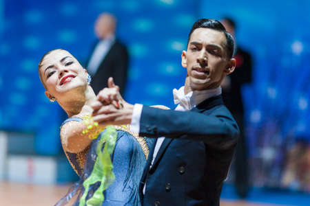 10 15 years: Minsk, Belarus-February 15, 2015: Khuzhaiarov Max and Nirkova Anastasia from Lithuania Performs Adult Standard European Program on IDSA World Professional 10 Dance Championship on February 15, 2015, in Minsk, Republic of Belarus