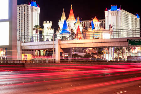 trafic: Las Vegas Hotels and Strip main Street At Night with Blurred Trafic Lights.Horizontal Image Editorial