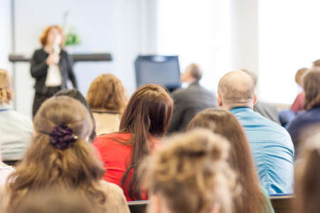 lecturer: People on the Conference Listening to the Lecturer. Back View. Horizontal Image Composition