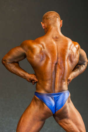 masculinity: Minsk-Belarus, April, 26: Professional Male Caucasian Bodybuilder Performing on Stage during Bodybuilding and Fitness Championship of the Republic of Belarus on April, 26, 2015 in Minsk, Republic of Belarus