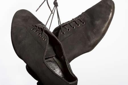 wornout: Closeup Shot of Pair of Wornout Latin Ballroom Dance Shoes. Against White Background. Horizontal Image Orientation Stock Photo