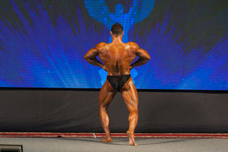 masculinity: Professional Male Caucasian Bodybuilder Performing on Stage. Back View. Horizontal Image Composition