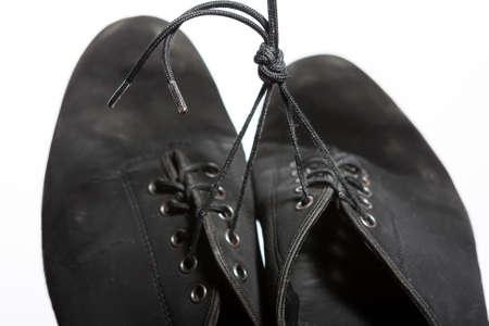 wornout: Closeup Shot of Pair of Wornout Latin Ballroom Dance Shoes. Against White Background Stock Photo