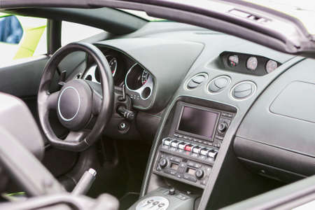 sportcar: Interior of the Luxury Coupe Sportcar. Horizontal  Image Composition