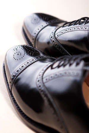 brogue: Closeup of Brand New Fahionable Male Classic Oxford Semi-Brogue Shoes. Vertical Image Orientation