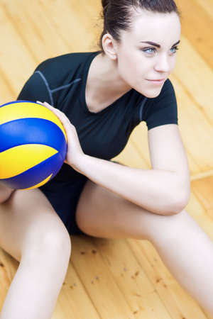 female volleyball: Female Volleyball Player with Ball