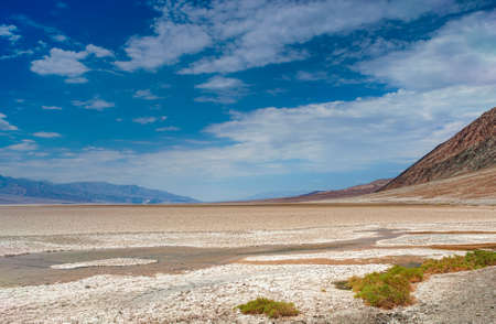 parch: Very Rare Puddle in the Area of Badwater Pool Basin at the bottom of Death Valley National park in California. Horizontal Image Orientation Stock Photo
