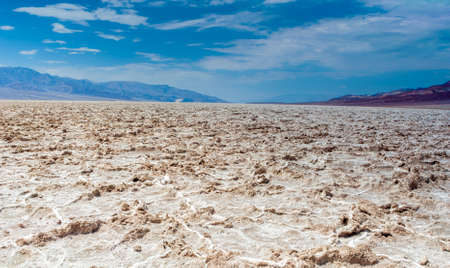 parch: Badwater basin in Californian Death Valley National Park Area Located below Sea Level in USA. Horizontal Image Composition Stock Photo