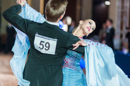 alexa: Minsk, Belarus-September 26, 2015: Tirzin Anatoliy and Bugaev Alexa Perform Adult Standard Program on III International IDSA World Dance Championship Capital Cup Minsk- 2015 on September 26, 2015, in Minsk, Belarus