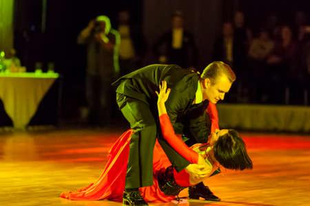 show case: Minsk, Belarus – September 26, 2015: Artem Kazyra and Anastasiya Veslova Perform VIP Show Case Dance Show on III International IDSA World Dance Championship Capital Cup Minsk- 2015 on September 26, 2015, in Minsk, Belarus
