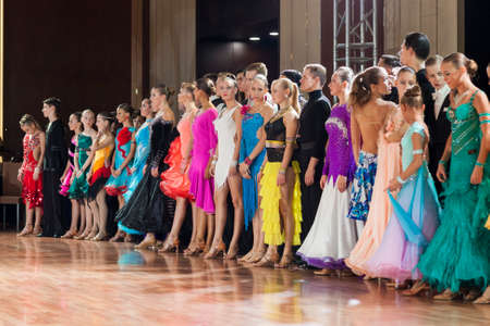 prior: Minsk-Belarus, September 26, 2015: Dance couples standing prior to the awarding ceremony on III International IDSA World Dance Championship Capital Cup Minsk- 2015 on September 26, 2015, in Minsk, Belarus Editorial