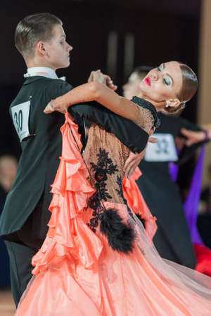 konstantin: Minsk, Belarus-September 26, 2015: Ermolovich Konstantin and Snegir Anna Perform Juniors-2 Standard Program on III International IDSA World Dance Championship Capital Cup Minsk- 2015 on September 26, 2015, in Minsk, Belarus