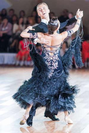 vitaly: Minsk, Belarus-September 26, 2015: Kaliuzhnyy Vitaly and Kaletnik Vladyslava Perform Youth Standard Program on III International IDSA World Dance Championship Capital Cup Minsk- 2015 on September 26, 2015, in Minsk, Belarus Editorial
