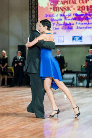 argentinian: Minsk, Belarus – September 27, 2015: Professional Belarussian Couple Perform Pro-Am Program of Argentinian Tango on IDSA World Dance Championship Capital Cup Minsk- 2015 on September 27, 2015, in Minsk, Belarus
