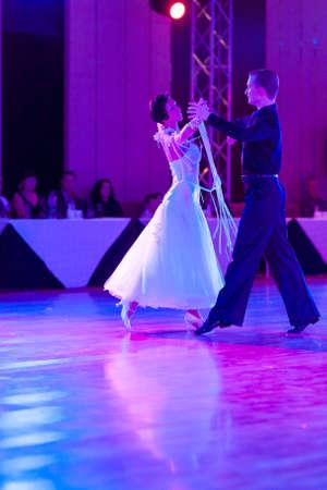 show case: Minsk, Belarus – September 27, 2015: Artsem Kazyra and Anastasiya Veslova Perform VIP Show Case Dance Show on III International IDSA World Dance Championship Capital Cup Minsk- 2015 on September 27, 2015, in Minsk, Belarus Editorial
