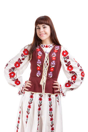 flowery: Portrait of Smiling Brunette Lady Posing in National Flowery Costume. Isolated Over White Background. Vertical Image Stock Photo