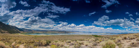 evaporating: Panoramic Shot of Unique Mono Lake in Yosemite National Park in California. United States of America. Panorama Image