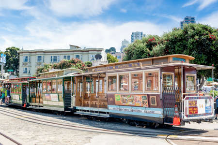 municipal editorial: San-Francisco-United States, July 13, 2014: Authentic San-Francisco Tram On Parking Place on July 13, 2014 in San-Francisco, California, United States Of America.