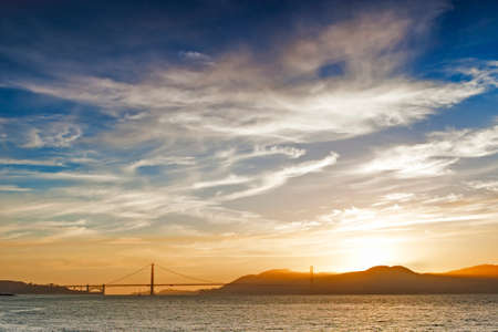 frisco: San-Francisco Bay With Golden Gate Bridge on Background Stock Photo