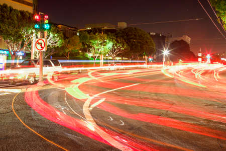 Night Shot of the Trails Lights on one of the Streets of San-Francisco. Long Exposure Used for This Effect. Horizontal Image Orientation