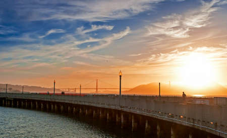 frisco: Golden Hour During Sunset on Pier of San-Francisco City in California, USA. Horizontal Image Orientation Stock Photo