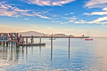 frisco: One of the Piers of San-Francisco City in California. Horizontal Image Composition Stock Photo