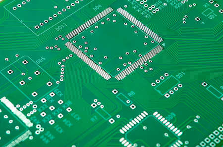 Closeup Shot of New Printed Circuit Board Without Any Components on It. Horizontal Image Composition