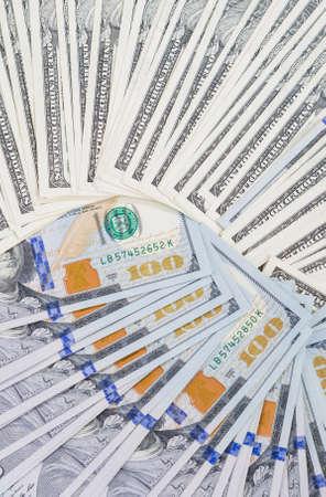 arranged: Plenty of Dollars Banknotes Arranged Bulk. Vertical Image Orientation