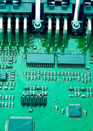 printed circuit: Printed Circuit Board with Mounted Components. Vertical Shot