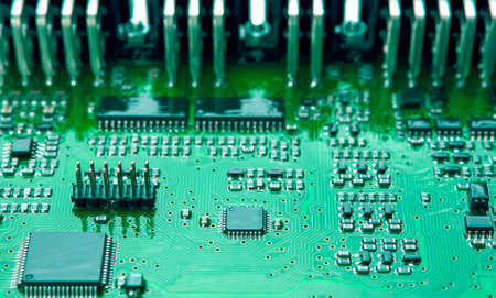 printed circuit: Closeup of Printed Circuit Board with Mounted Components. Horizontal Shot