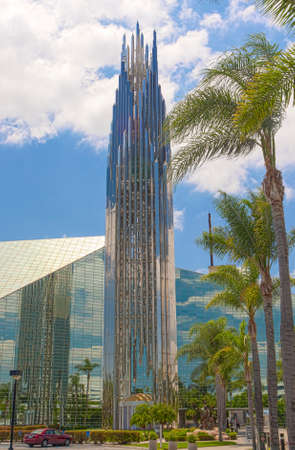 place of worship: The Crystal Cathedral Church as a Place of Praise and Worship God in California, United States of America. Vertical Shot Stock Photo
