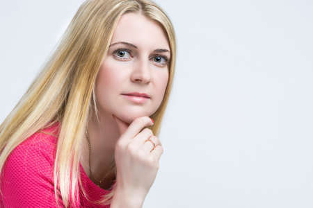 thirties: Closeup Portrait of Happy Caucasian Blond Female. Posing on White Background. Horizontal Image Composition
