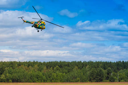 80th: Minsk, Belarus-June 21, 2014: MI-2 Helicopter on Air During Aviation Sport Event Dedicated to the 80th Anniversary of DOSAAF Foundation in Minsk on June 21, 2014 in Minsk, Republic of Belarus