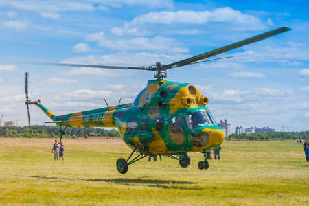 21: Minsk, Belarus-June 21, 2014: MI-2 Helicopter on Air During Aviation Sport Event Dedicated to the 80th Anniversary of DOSAAF Foundation in Minsk on June 21, 2014 in Minsk, Republic of Belarus