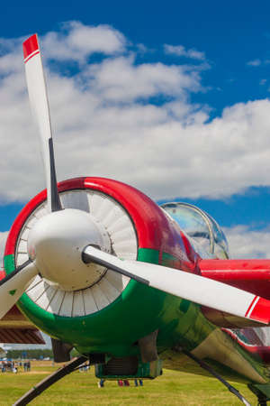 pilotage: Propeller Blades of Sportive Aeroplane SU-26M on display During Aviation Event Dedicated to the 80th Anniversary of DOSAAF Foundation in Minsk Editorial