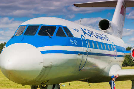 80th: Passenger Aeroplane YAK-40 on Display During Aviation Event to the 80th Anniversary of DOSAAF Foundation in Minsk on June 21, 2014 in Minsk, Republic of Belarus