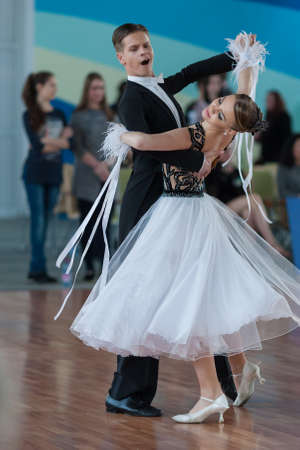 konstantin: Minsk, Belarus-April 3, 2016: Ermolovich Konstantin and Snegir Anna Perform Youth-2 Standard Program on the IDSA Championship Kinezis Star Cup in April 3, 2016 in Minsk, Republic of Belarus
