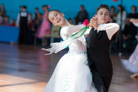 liana: Minsk, Belarus-April 3, 2016: Panasyuk Maksim and Belyankina Liana Perform Juvenile-1 Standard Program on the IDSA Championship Kinezis Star Cup � 2016 in April 3, 2016 in Minsk, Republic of Belarus