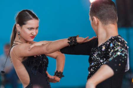 anton: Minsk, Belarus-April 3, 2016: Babushin Anton and Milovidova Yana Perform Youth Latin-American Program on IDSA Championship Kinezis Star Cup - 2016 in April 3, 2016 in Minsk, Republic of Belarus Editorial