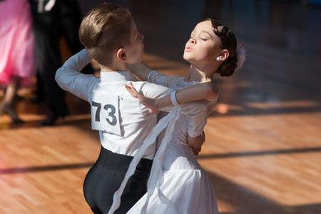 diana: Minsk, Belarus-April 3, 2016: Hamko Egor and Bloshentceva Diana Perform Juvenile-1 Standard European Program on the IDSA Championship Kinezis Star Cup � 2016 in April 3, 2016 in Minsk, Republic of Belarus