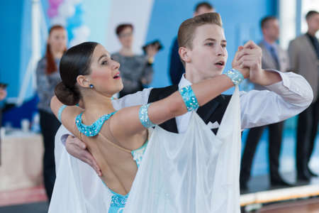 aleksander: Minsk, Belarus-April 3, 2016: Levkovich Aleksander and Bugakova Evelina Perform Youth-2 Standard Program on the IDSA Championship Kinezis Star Cup � 2016 in April 3, 2016 in Minsk, Republic of Belarus