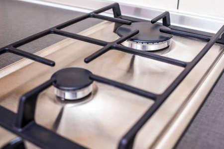 double oven: Closeup of Modern Double Burners Split Gas Oven. Horizontal Image Orientation