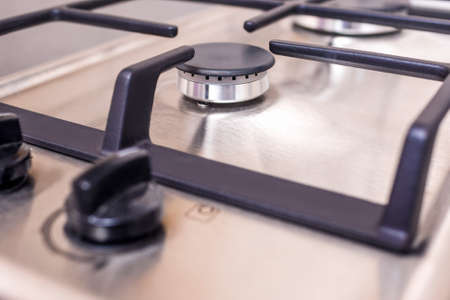 double oven: Extreme Closeup of Modern Double Burners Split Gas Oven. Horizontal Image Orientation